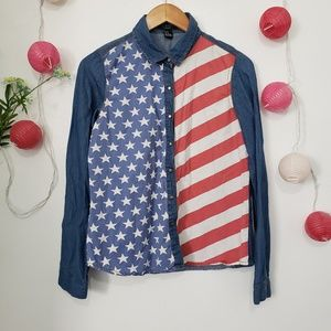 FOREVER 21 american flag button down shirt M